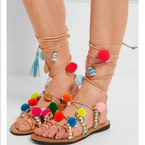 Lace up embellished leather sandals by Mabu